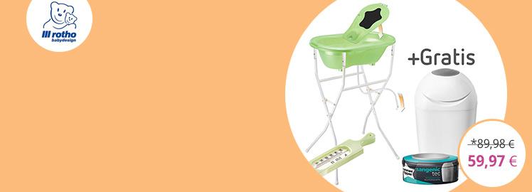 Rotho Babydesign Badestation Top - Lindgrün Perl + Gratis Windeltwister Sangenic Tec
