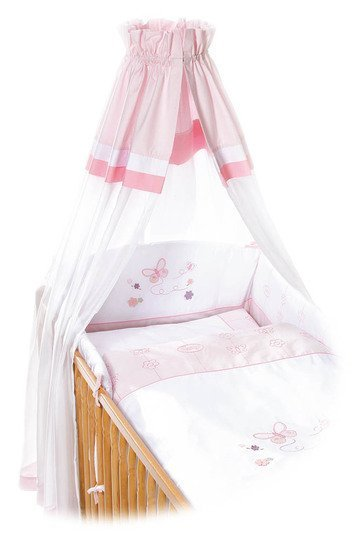 easy baby bettw sche set butterfly wei rosa. Black Bedroom Furniture Sets. Home Design Ideas