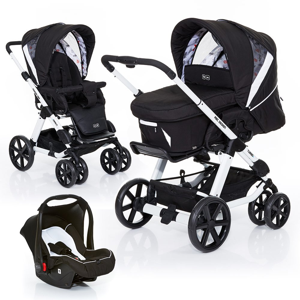 ABC Design Kombi-Kinderwagen Turbo 6 - 3in1 Set inkl. Babyschale - Stream 61004606+101045606