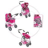 Kombi-Puppenwagen 3 in 1 Emotion All In - Hot Pink Pearls