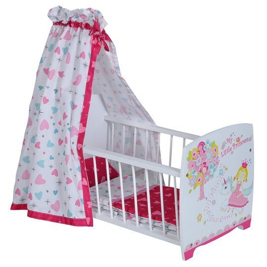 knorrtoys puppenbett mit himmel my little princess wei. Black Bedroom Furniture Sets. Home Design Ideas