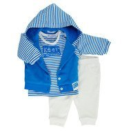 3-tlg. Set Jacke + Langarmshirt + Hose - Keep Moving Blau Offwhite