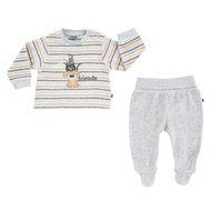 2-tlg. Set Nicki Langarmshirt + Hose Best Friends - Ringel Grau Aprikose