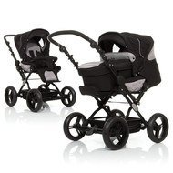Kombi-Kinderwagen Pisa - Grey Black