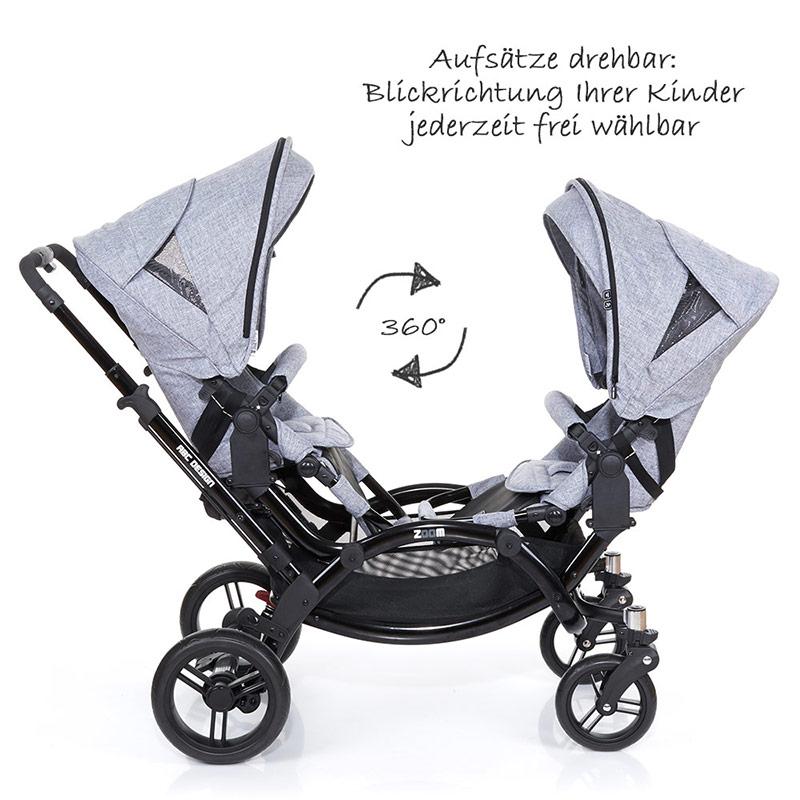 abc design geschwisterwagen kinderwagen zwillingswagen zoom graphite black 4045875039119 ebay. Black Bedroom Furniture Sets. Home Design Ideas