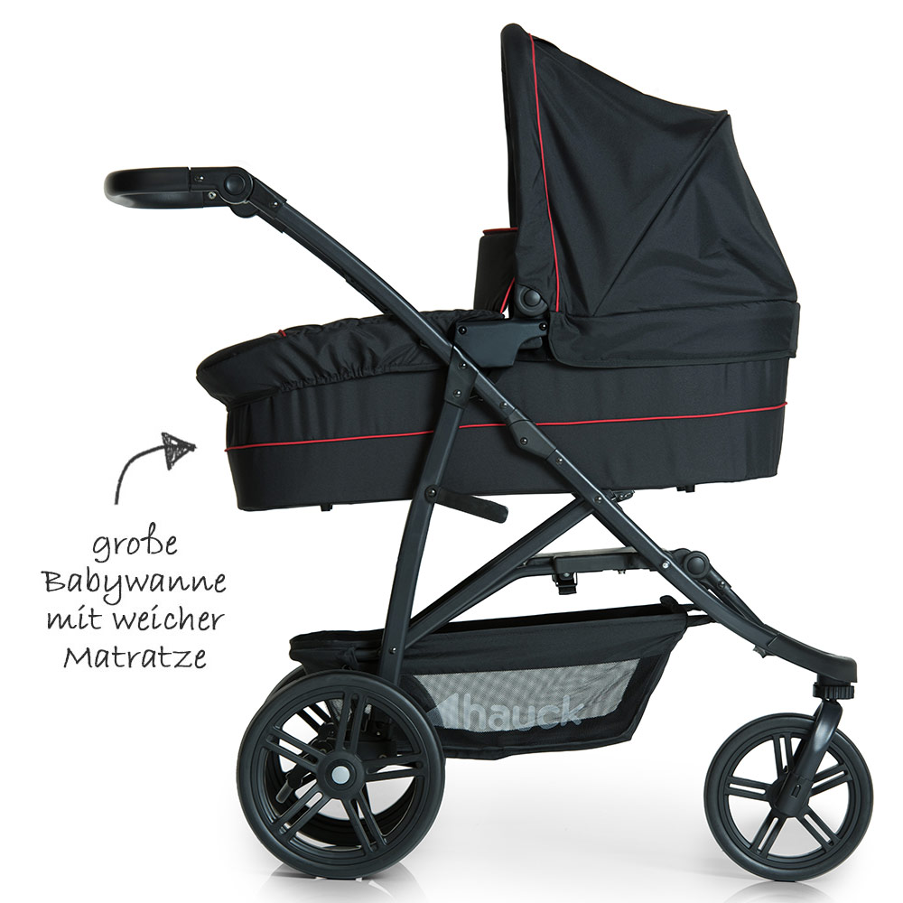 hauck kinderwagen set 3 in 1 rapid 3 plus rot babywanne sportwagen autositz 4007923149560 ebay. Black Bedroom Furniture Sets. Home Design Ideas