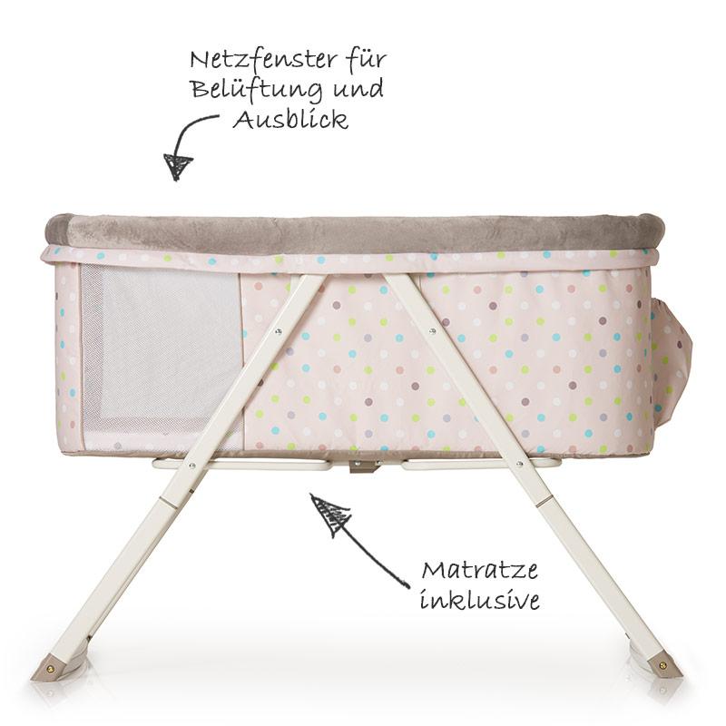 hauck babybett beistellbett dreamer stubenwagen multi dots sand mit matratze ebay. Black Bedroom Furniture Sets. Home Design Ideas