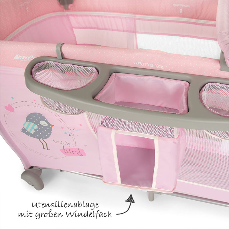 hauck baby reisebett babycenter birdie grey kinderreisebett mit wickelauflage ebay. Black Bedroom Furniture Sets. Home Design Ideas