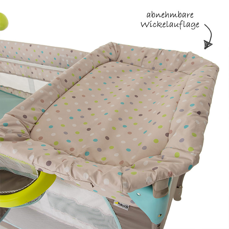 hauck baby reisebett babycenter multi dots kinderreisebett mit wickelauflage ebay. Black Bedroom Furniture Sets. Home Design Ideas