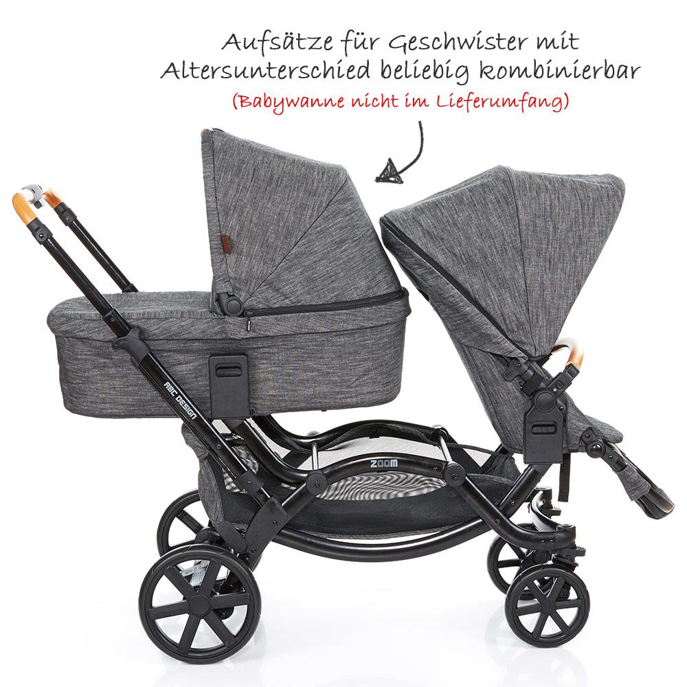 abc design geschwisterwagen kinderwagen zwillingswagen zoom sonderserie wood ebay. Black Bedroom Furniture Sets. Home Design Ideas