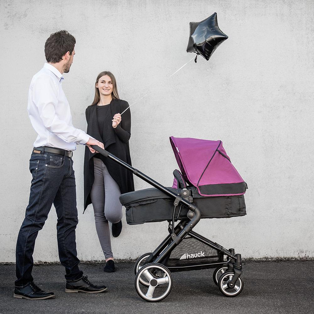 hauck kombi kinderwagen buggy 2in1 manhattan mit babywanne charcoal purple ebay. Black Bedroom Furniture Sets. Home Design Ideas