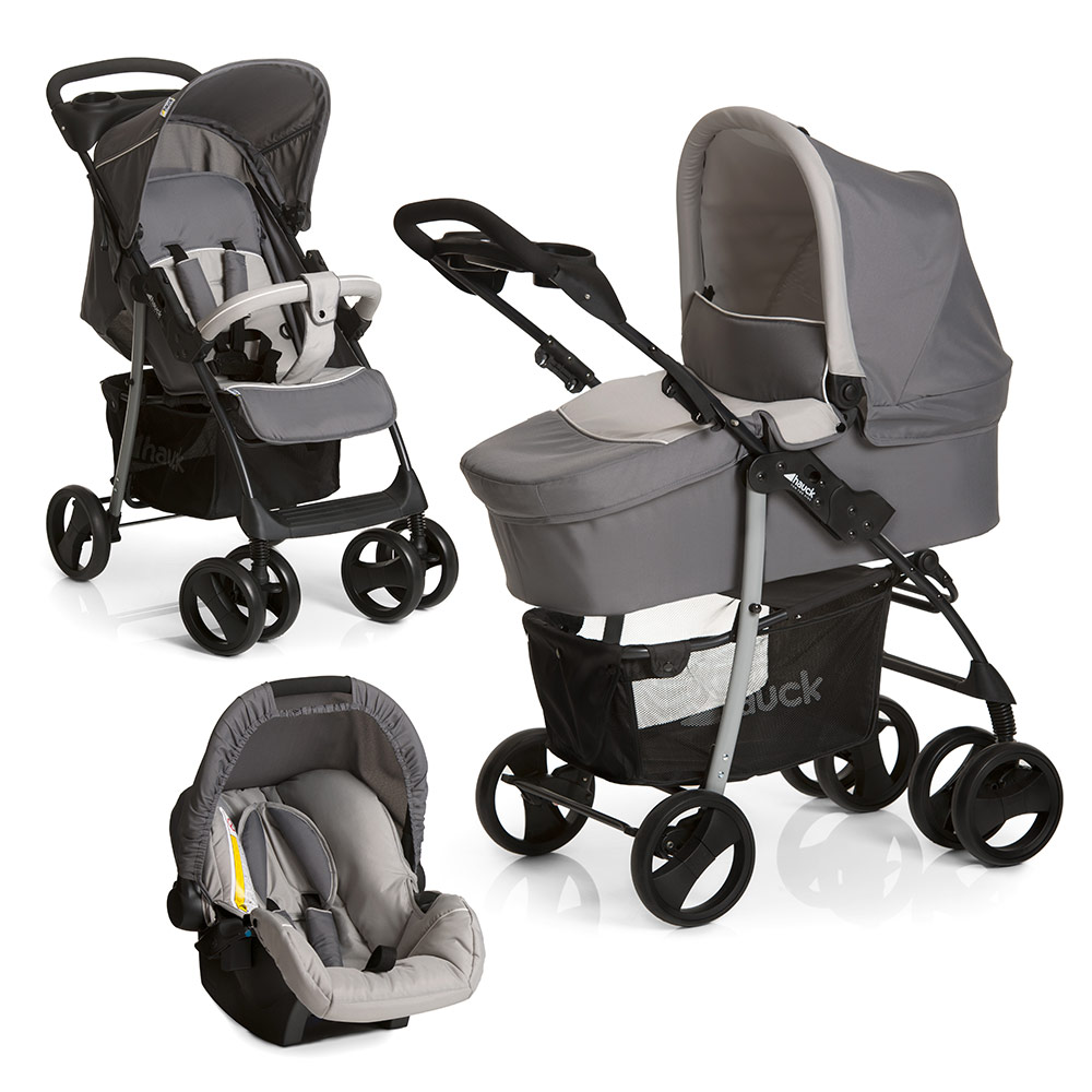 hauck kinderwagen 3in1 set shopper slx grau babywanne. Black Bedroom Furniture Sets. Home Design Ideas