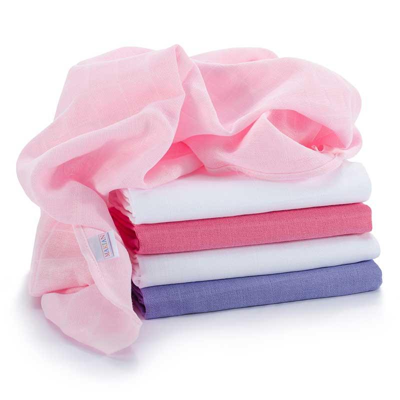Mulltücher Spucktücher Mullwindeln Baby Babydecke Wickeln 120x120 cm Pink Rosa
