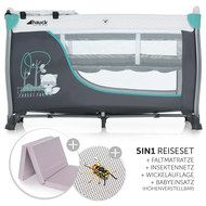 Hauck Reisebett Sleep'n Play Center II - Sparset inkl. Matratze, Wickelauflage, Babyeinsatz, Insektenschutz - Forest Fun