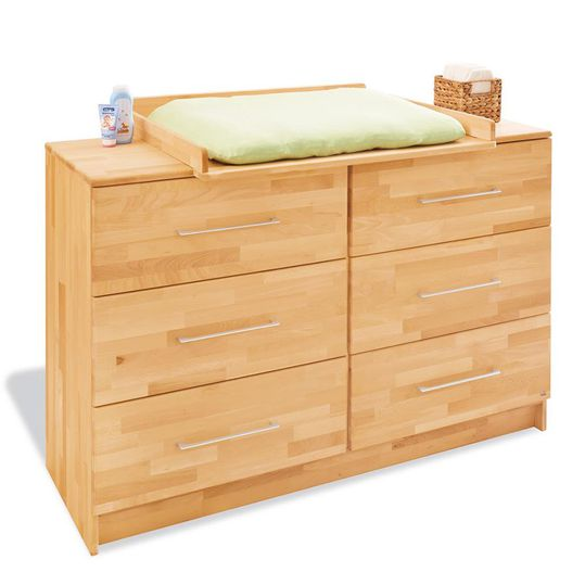 Changing table Natura extra wide - solid beech