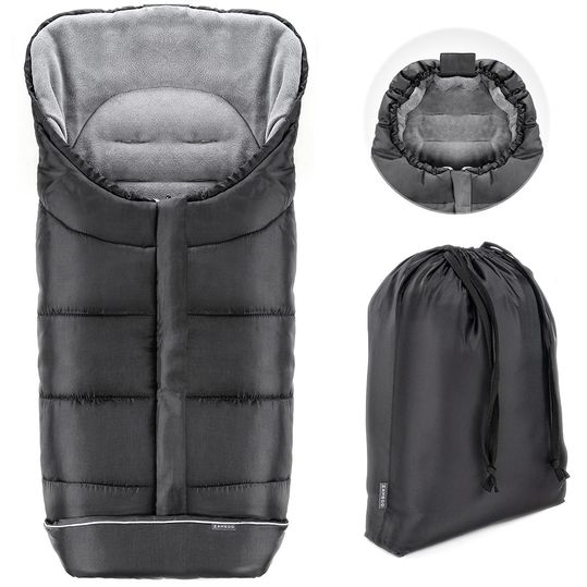 Universal Thermo Footmuff Multifunction Comfort for Strollers and Buggies - Black Grey
