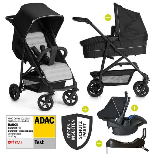 Pram set Rapid 4 Plus Trio Set incl. Isofix base and XXL accessories package - Caviar Silver