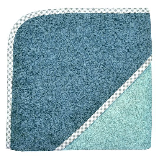 Hooded bath towel 80 x 80 cm - Uni smoke crystal blue