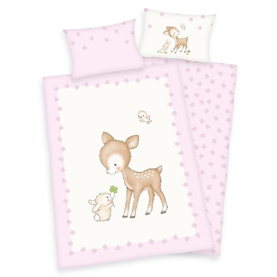 reversible bed linen 100 x 135 cm - fawn & bunny
