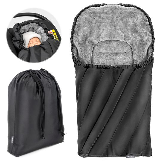 Winter Footmuff Deluxe for baby seat (Maxi-Cosi) - Black Grey