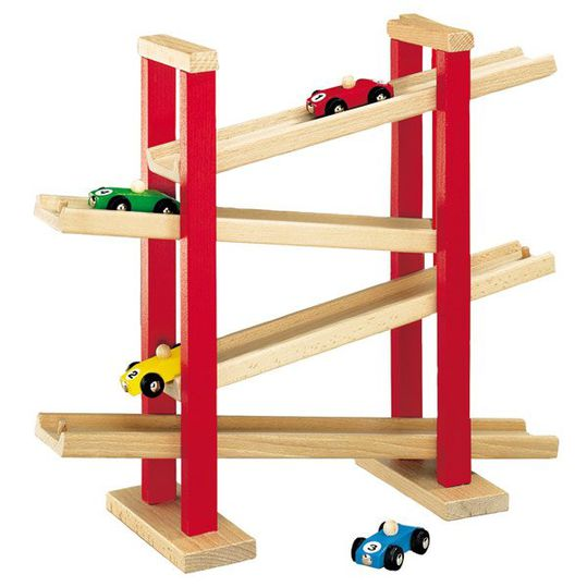 Wooden car racetrack with 4 cars