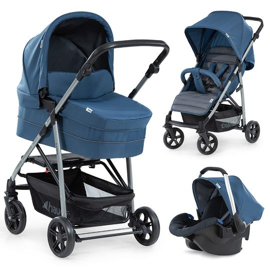 Kinderwagen-Set Rapid 4 Plus Trio Set mit Babywanne, Autositz und Sportwagen (bis 25 kg) - Denim Grey