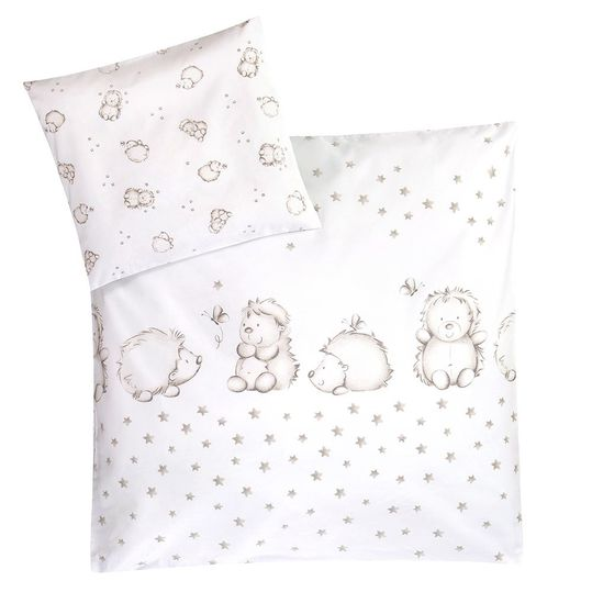 Bed linen 80 x 80 cm - Hedgehog - White