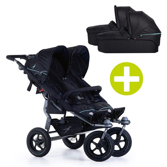 3-1 Geschwister- & Zwillingskinderwagen-Set Twin Adventure 2 inkl. 2 Babywanne Twin mit Adapter - Tap Shoe