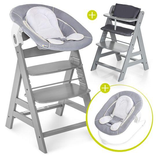Alpha Plus Grey Newborn Set - 4-piece high chair + newborn insert & rocker stretch grey + seat cushion