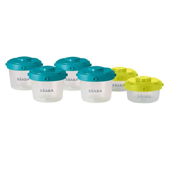 Portionsbecher zum Stapeln - 6er Pack 60 ml & 120 ml - Neon Blau
