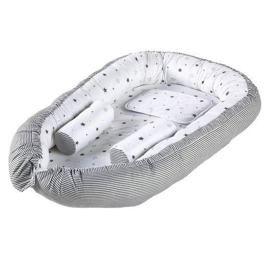 Cuddly nests incl. positioning pillow and pillow Exclusive 90 x 50 - Starlet - Grey