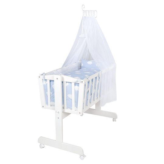 Complete Cradle White - Small Cloud - Blue