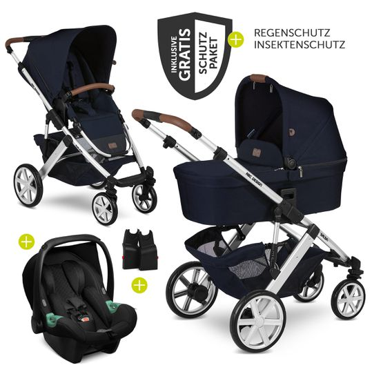 3in1 Kinderwagen-Set Salsa 4 - inkl. Babyschale Tulip & XXL Zubehörpaket - Shadow