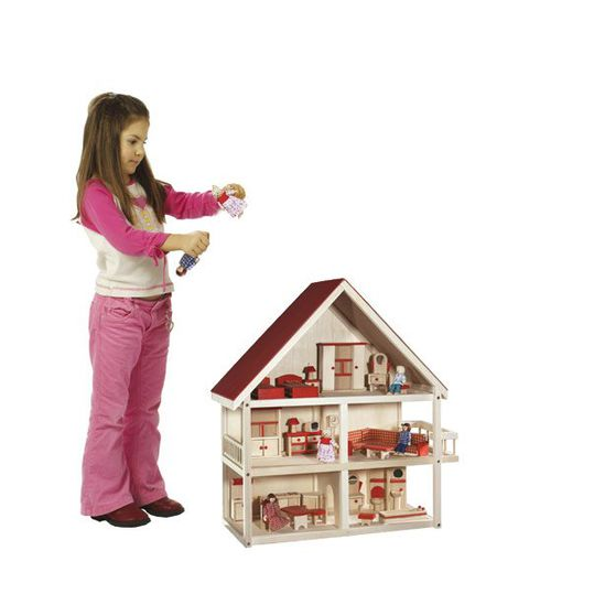 Doll house 3-storey incl. furniture + dolls