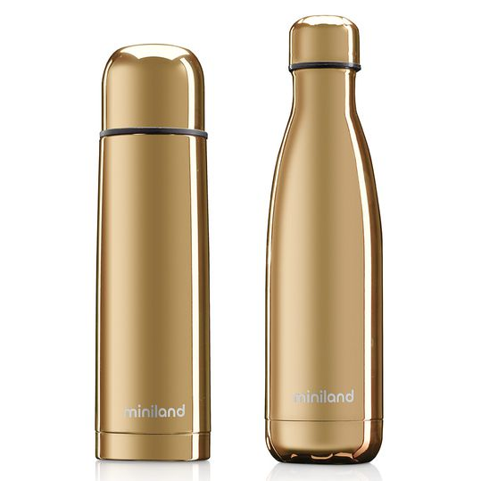 Edelstahl-Isolierflasche 2er Pack Deluxe Thermos - myBaby&me 500 ml - Gold