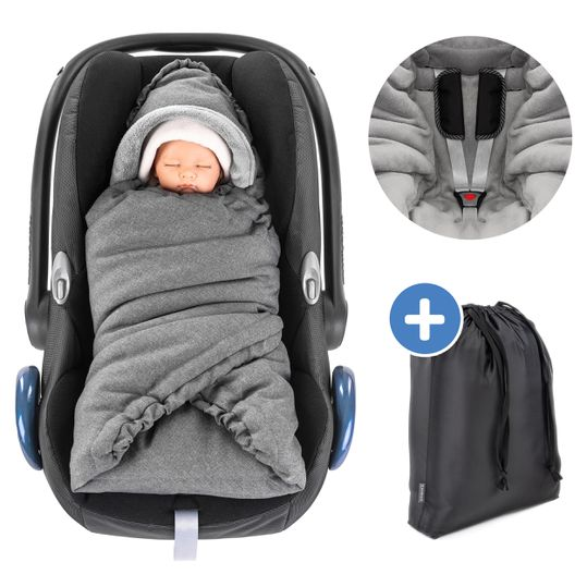 Wrap-around Deluxe for baby car seat (Maxi-Cosi, Cybex, Kiddy, Britax Römer) and baby bath - Grey