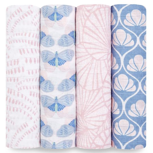 Mullwindel / Mulltuch / Pucktuch - Classic Swaddles - 4er Pack  - 120 x 120 cm - Deco Collection