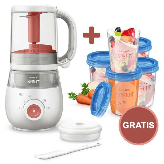 Baby food maker 4-in-1 - SCF881/01 + Free reusable mug for baby food