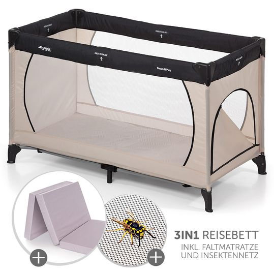 Travel bed Dream'n Play Plus - Economy set incl. mattress and insect protection - Beige Grey