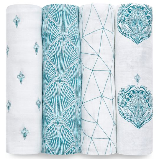 4er Pack Classic Swaddles Mullwindel 120 x 120 cm - Paisley Teal - Weiß Petrol