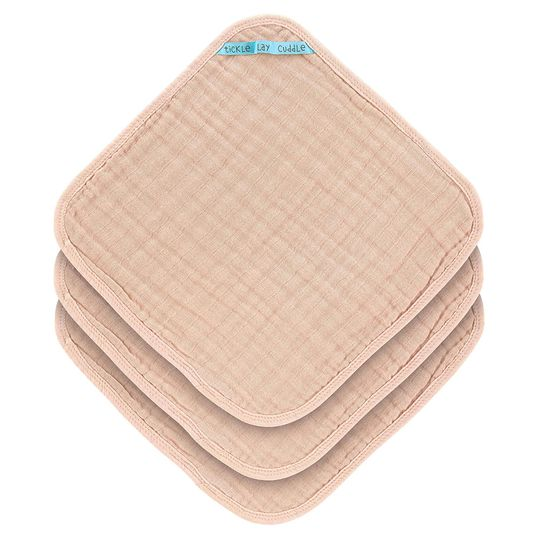 Pflegetuch 3er Pack Muslin 30 x 30 cm - Light Pink