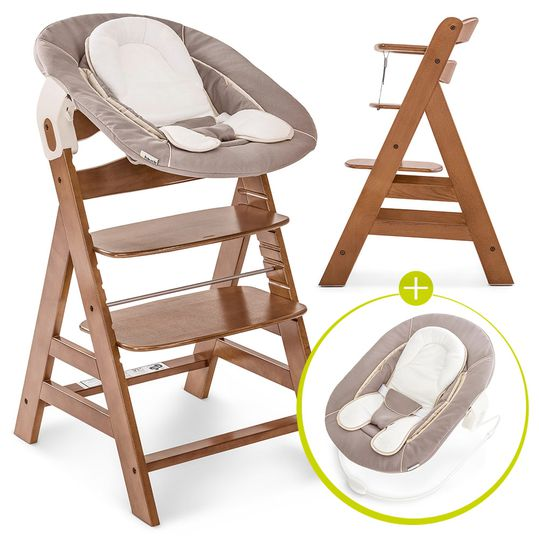 Alpha Plus Walnut Newborn Set - 3-piece high chair + newborn insert & rocker stretch beige