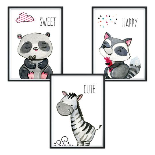 Poster 3er Set - Sweet Happy Cute - A4