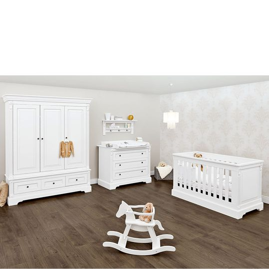 Emilia nursery with baby changing unit and 3-door wardrobe