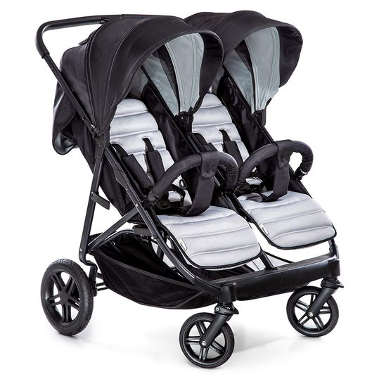Sibling Buggy & Twin Buggy Rapid 3R Duo - Silver Charcoal