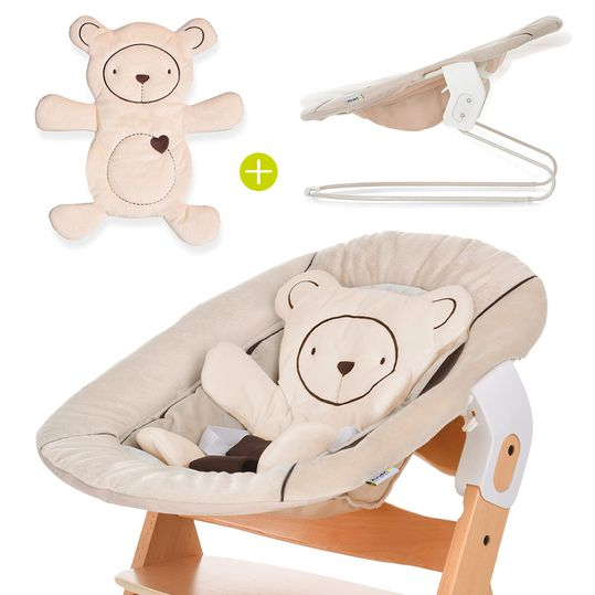 Newborn attachment & rocker for Alpha high chair - Bouncer 2in1 - Hearts Beige