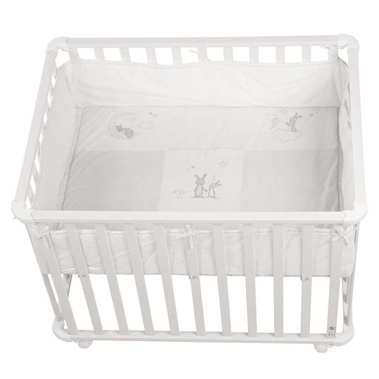 Playpen white incl. insert 75 x 100 cm - Fox & Bunny