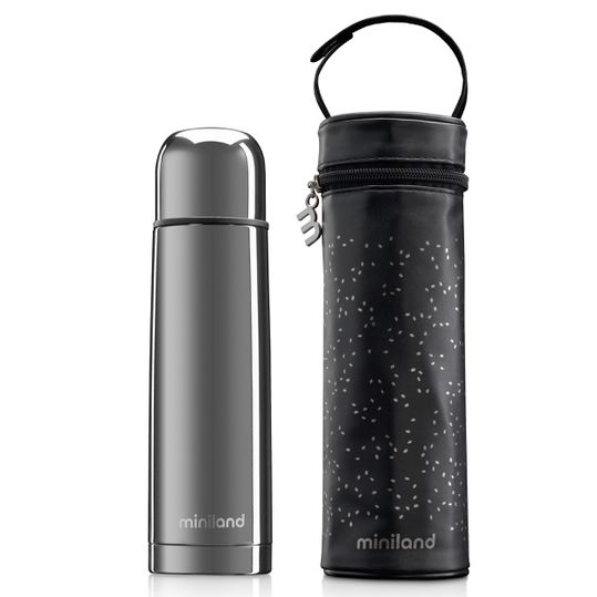 Edelstahl-Isolierflasche inkl. Isoliertasche Deluxe Thermos 500 ml - Silver