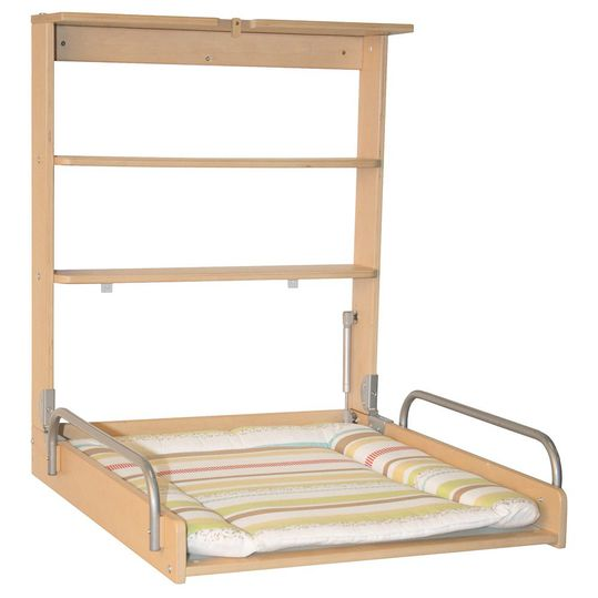 Wall-mounted changing shelf incl. support - Natur