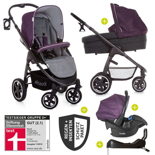 4in1 Kinderwagen-Set Soul Plus Trio Set inkl. Isofix Basis und XXL Zubehörpaket - Berry